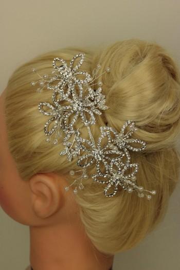 Flower side hair comb