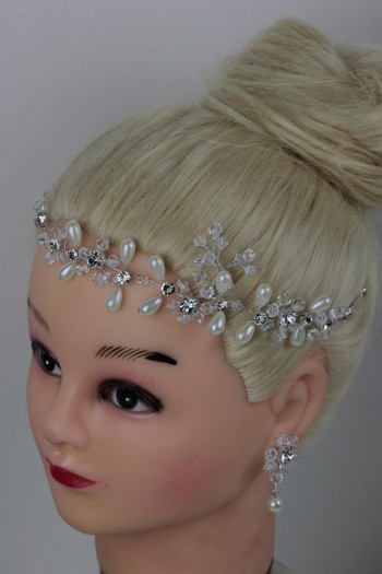Handmade Bridal Hair with bobby Pin with Matching Earring