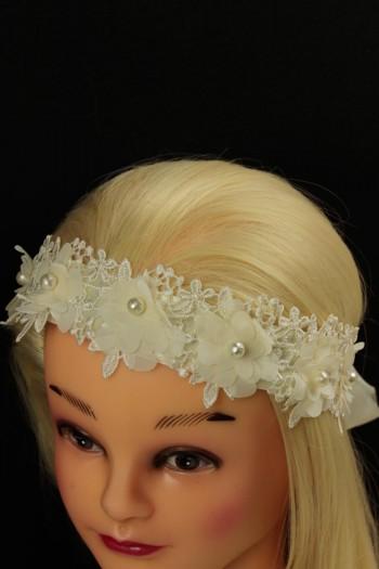 Race flower back side ribbon headband