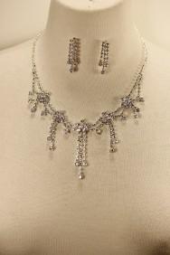 10114-6 Flower garden rhinestone necklace set