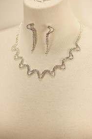 10119-6 Zigzag rhinestone necklace set