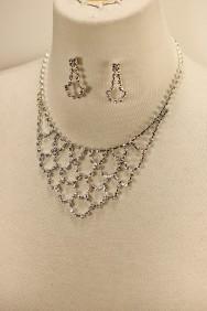 10214-6 Net rhinestone necklace set