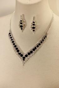 10400-6 Baroko rhinestone necklace set-BLACK