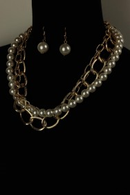 AH1570-1 Modern chain with pearl necklace set