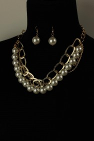 AH1572-1 Simple chain necklace set with pearl