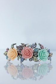 BA78 Versaille rose hair barrettey jewelry