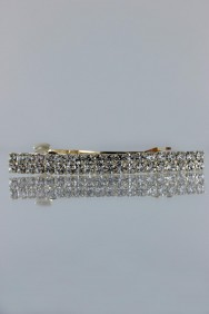 BA93 Two line rhinestone small barrette