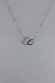 CZ-NP369 Double Hearts CZ Pendant Necklace