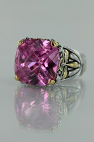 CZ-RS711 Pink Antique CZ Rings