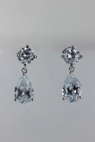 CZ-E228 Grande pear dangling CZ earring