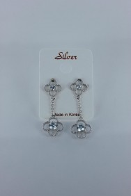 CZ-E255 Double lux motif CZ earring with silver post