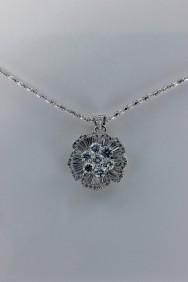 CZ-NP316 AAA Lux Flower CZ Pendant Necklace