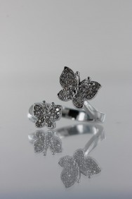 CZ-RA302 Two Butterfly CZ Ring