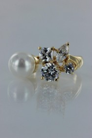 CZ-RA310 Popular pearl with multi look CZ ring