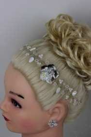 H138 Handmade Bridal Hair with Bobby Pin with Matching Earring