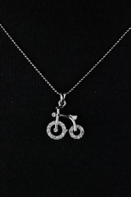 NPM28 Bicycle Large Pendant Necklace